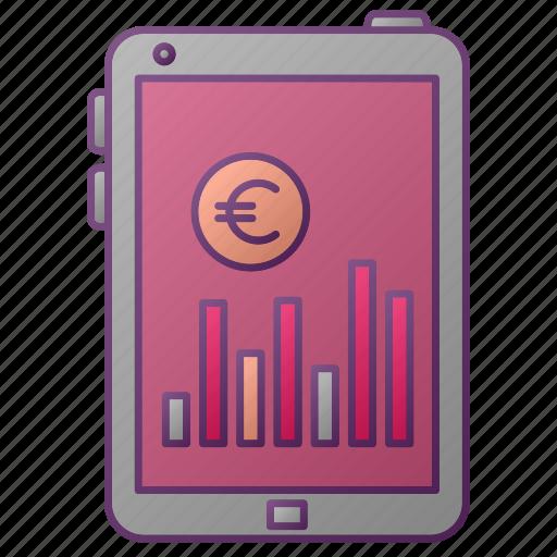 analytics, chart, euro, graph, money, seo, tablet icon