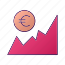 analytics, chart, euro, graph, seo icon