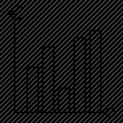analytics, chart, euro, graph, report, statistics icon