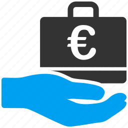 accounting, business, euro, european, hand, service, shopping icon