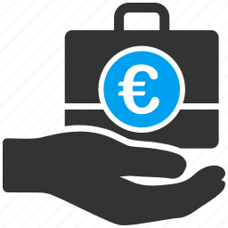 banking, business, euro, european, hand, service, shopping icon