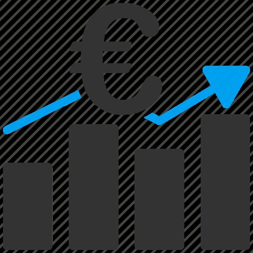 business, chart, euro, european, graph, growth, statistics icon