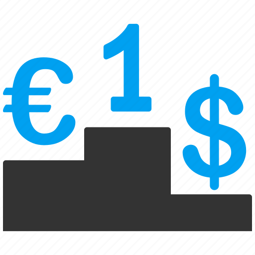 business, competition, dollar, euro, european, results, success icon