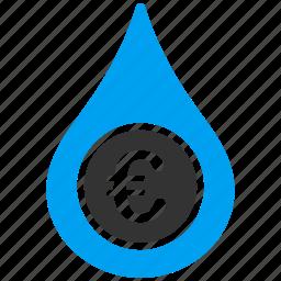 business, cashflow, drop, euro, european, money, water icon