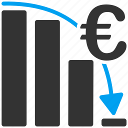 business, crisis, epic fail, euro, european, graph, sales chart icon