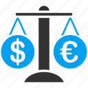 business, compare, euro, european, forex, market, trade icon