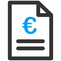 business, euro, european, invoice, listing, marketing, price list icon