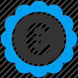 business, euro, european, quality, reward, seal, shopping icon