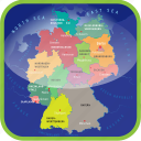 europe, germany, map, maps, political regions icon