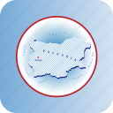 bulgaria, capitals, country, europe, map, maps icon
