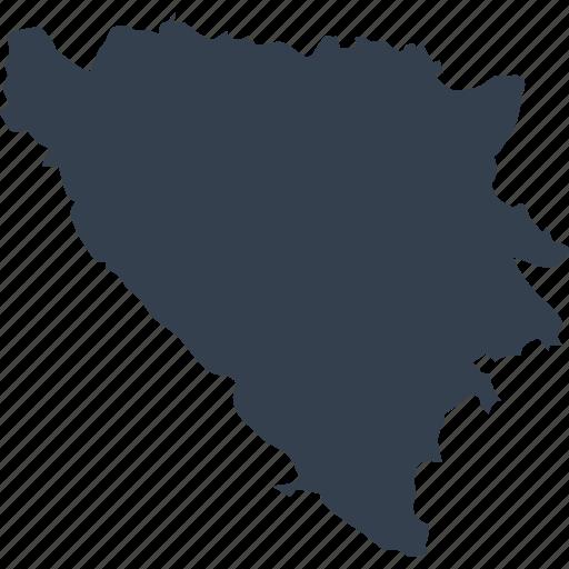 bosnia, europe, herzegovina, map, world icon