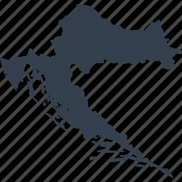 croatia, europe, map, world icon