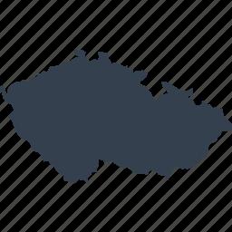 czech, europe, map, republic, world icon