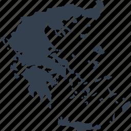europe, greece, map, world icon