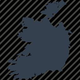 europe, ireland, map, world icon