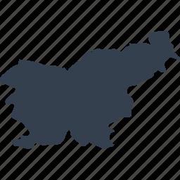 europe, map, slovenia, world icon