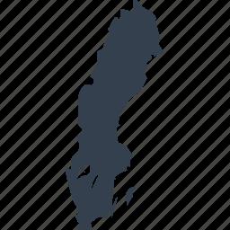 europe, map, sweden, world icon