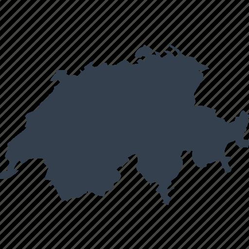 europe, map, switzerland, world icon