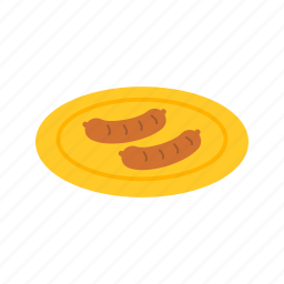 boiled, dinner, food, fresh, lunch, meat, sausage icon