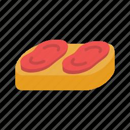 appetizer, bruschetta, cheese, diet, mediterranean, sandwich, tomato icon