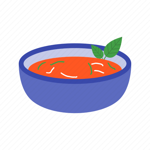 bowl, bread, food, gazpacho, healthy, red, soup icon