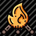 bonfire, campfire, fire, flame, night