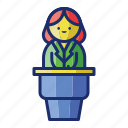 conferences, host, speech icon