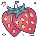 berries, fruit, organic diet, ripe fruit, strawberries icon