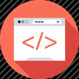 browser, code, development, mini, web icon