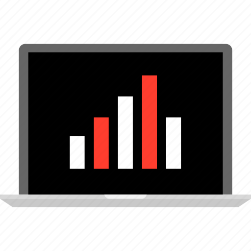 bars, data, graph, laptop, report icon