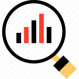 bars, data, find, graph, look, report, search icon