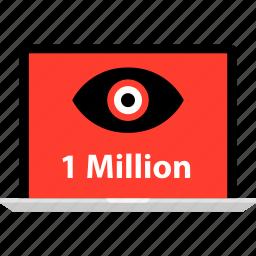eye, laptop, likes, million, one, views icon