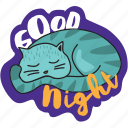 cat, good night, network, sleep, social icon