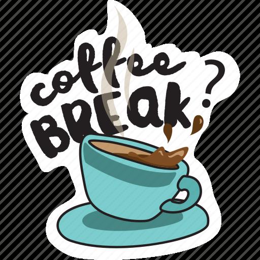 break, coffee, drink, network, pause, social, work icon