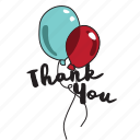 baloon, event, message, network, social, thank you icon