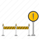 attention, construction, road, signal icon