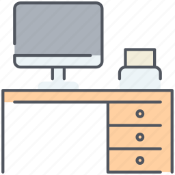 design, desk, furniture, interior, office, table, work icon