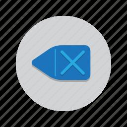 back, backspace, delete, erase, keyboard icon