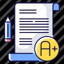essay, essay icon, examination, a grade icon