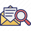 mail lookup, mail search, message scan, message search icon