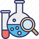 chemical analysis, chemical evaluation, chemistry lab, chemistry practicals icon