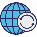 cyber security, global communication, global syncing, global update icon