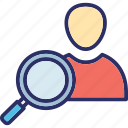 profile finder, search customer, search people, user monitoring icon