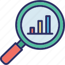 analytical presentation, business analysis, search analysis, search graph icon