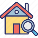 finding house, home inspection, home search, property inspection icon