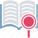 book scan, book search, content analysis, search content icon