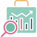 business bag, business research, jobsearch, market research icon