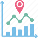 data analytics, data visualization, location analysis, predictive analytics icon