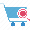 ecommerce, market research, online shopping, searching shopping icon