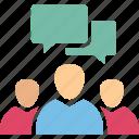 chatting members, debate, group chat, meeting icon